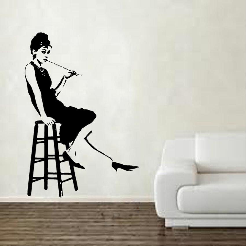 Kult Kanvas Wandtattoo Audrey Hepburn Auf Hocker
