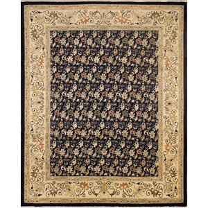 One-of-a-Kind Montagueu00a0 Hand-Knotted Wool Beige/Black Area Rug