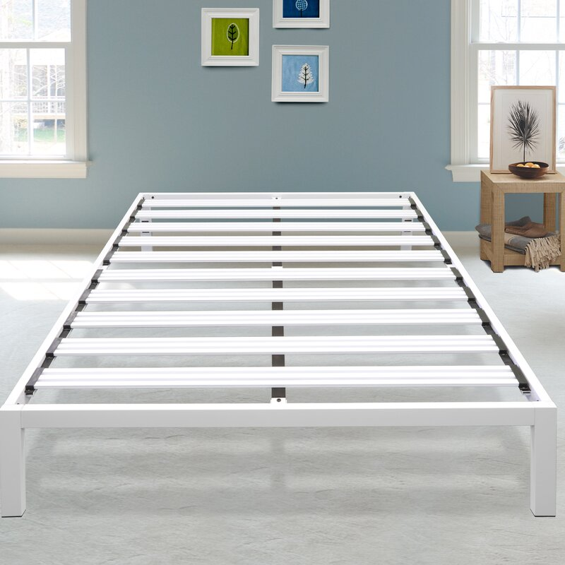 Hulme White Metal Platform Bed Frame & Reviews | Joss & Main