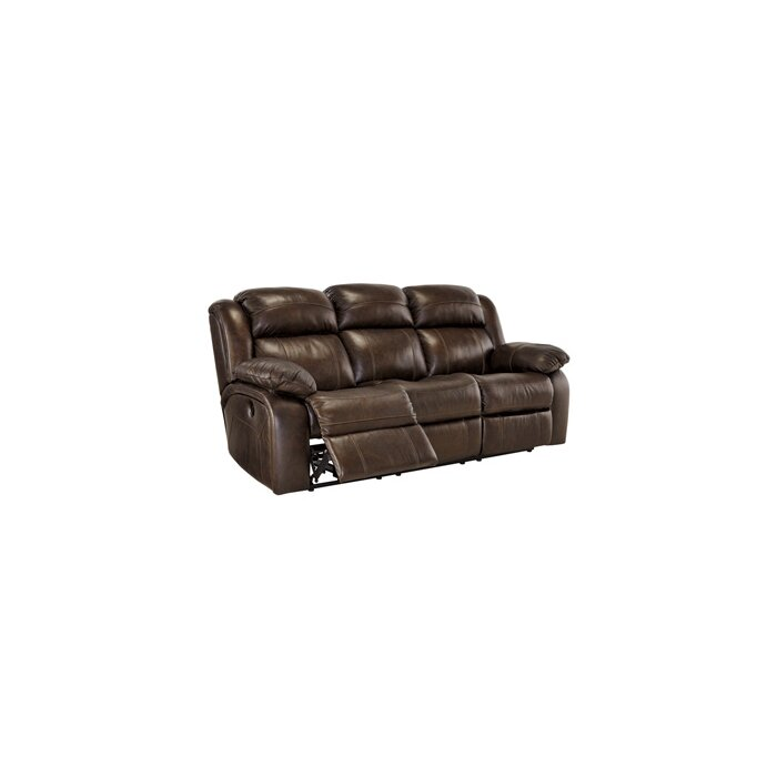 brown leather evana bonded furniture match with down holders sofa couch drop cup double he reclining center homelegance dark p