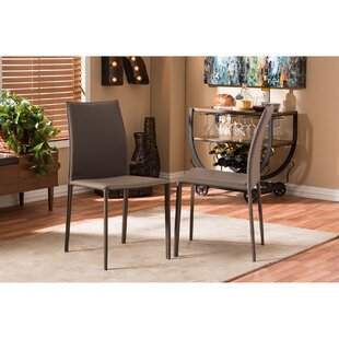 Baxton Studio Genuine Leather Upholstered Dining Chair (Set of 2)