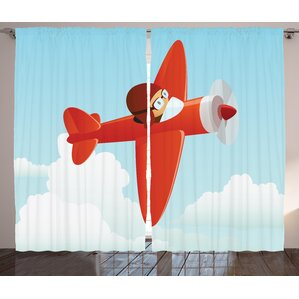Raquel Airplane Flying In The Cloud Graphic Print U0026 Text Semi Sheer Rod  Pocket Curtain