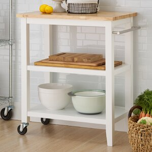 Raabe Kitchen Cart with Wood Top by An..