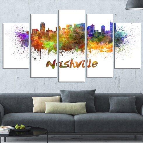 u0027Nashville Skylineu0027 5 Piece Wall Art on Wrapped Canvas Set · u0027 & DesignArt u0027Nashville Skylineu0027 5 Piece Wall Art on Wrapped Canvas Set ...