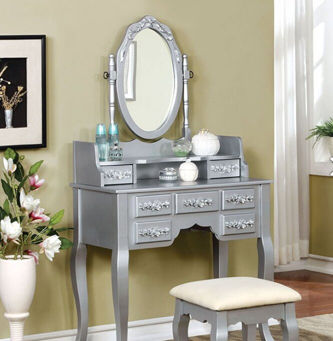 Bedroom   Makeup Vanities   Joss   Main. Mirrored Makeup Vanity Set. Home Design Ideas
