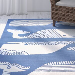 Janiyah Patterned Whales Blue/White Indoor/Outdoor Area Rug
