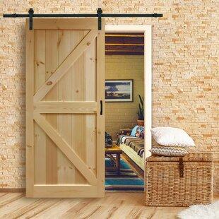 Bon Paneled Wood Unfinished Barn Door With Installation Hardware Kit