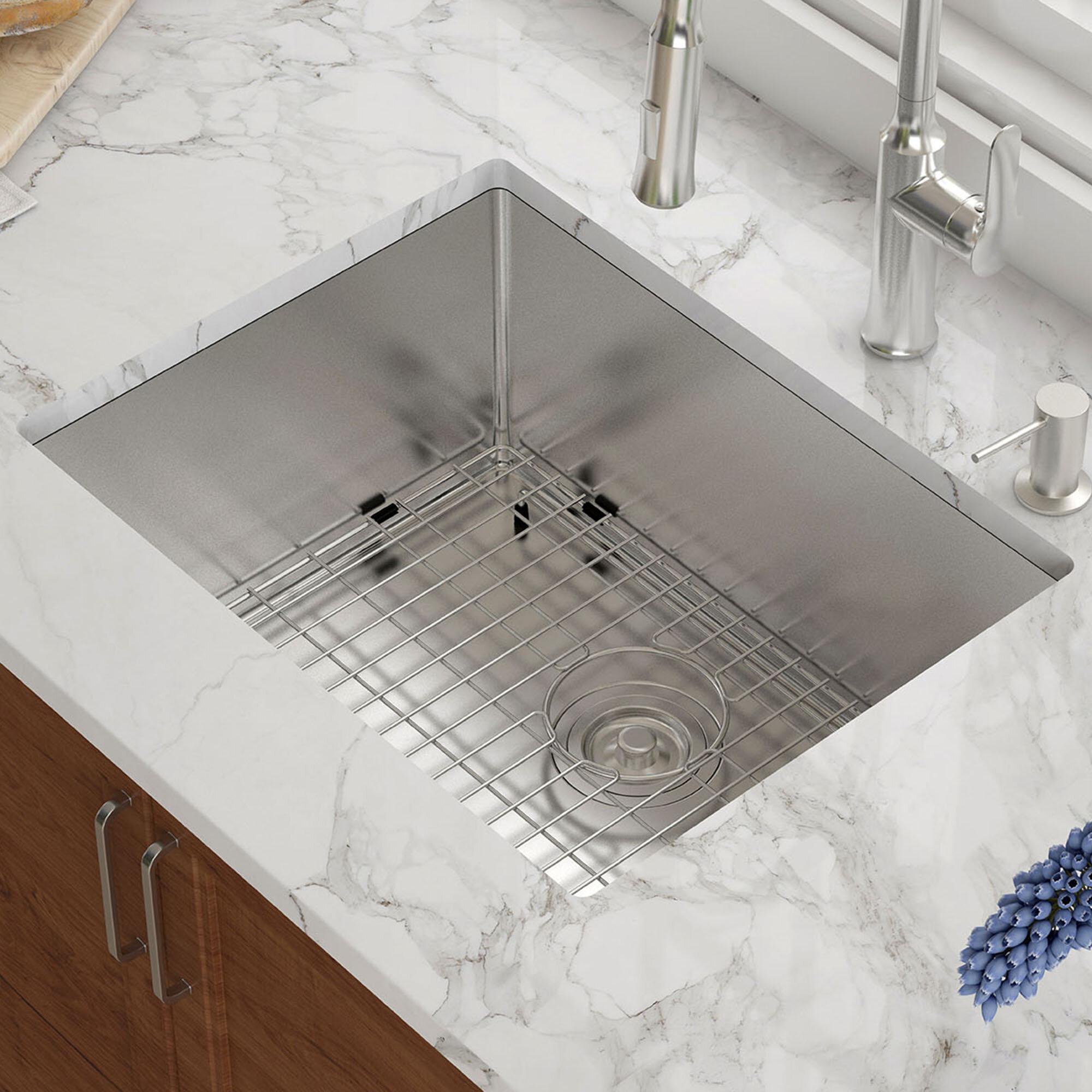 Khu101 23 kraus 23 l x 18 w undermount kitchen sink with basket strainer reviews wayfair