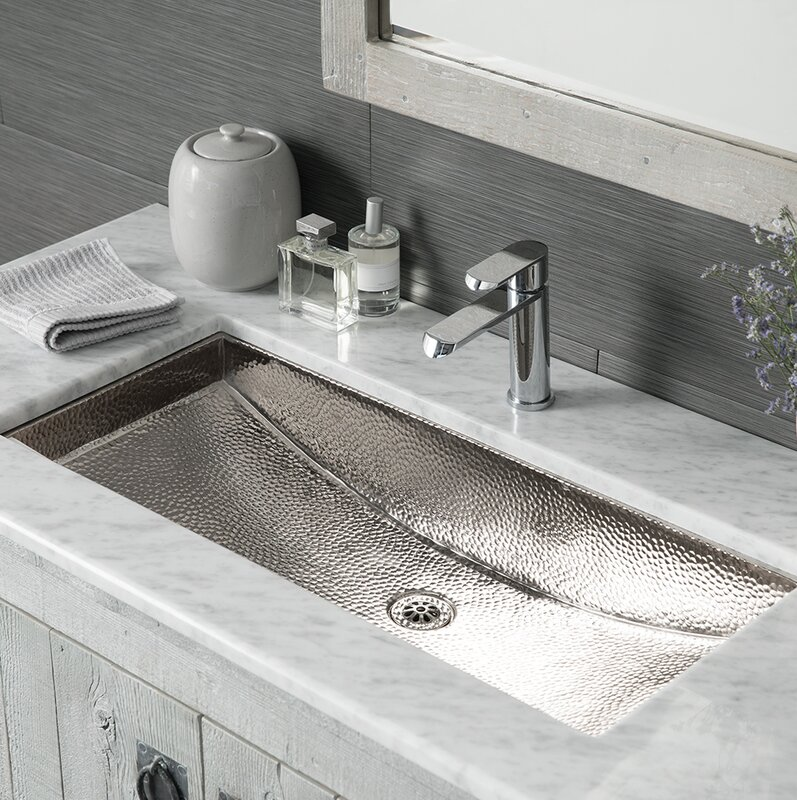 Trough Metal Rectangular Undermount Bathroom Sink