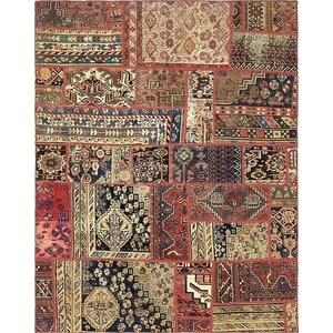 Sela Vintage Persian Hand Woven 100% Wool Red Patchwork Area Rug with Fringe