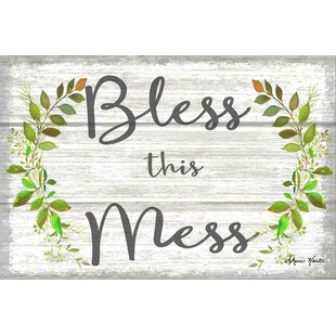 Fl Crown Bless This Mess Farm House Sign Textual Art On Canvas