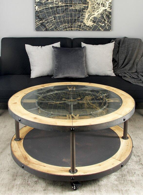 cole & grey metal and wood clock coffee table & reviews | wayfair