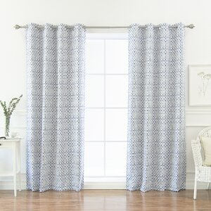 Aventura Shibori Geometric Blackout Thermal Grommet Curtain Panels (Set of 2)