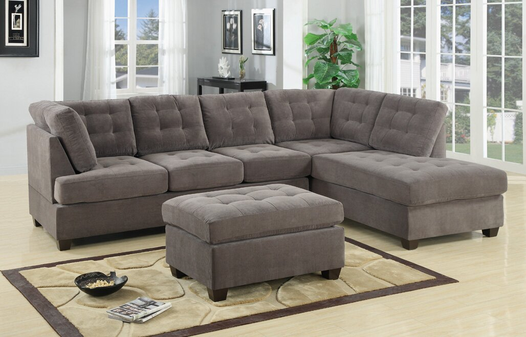 Darianna Waffle Reversible Sectional : sectionals living room furniture - Sectionals, Sofas & Couches