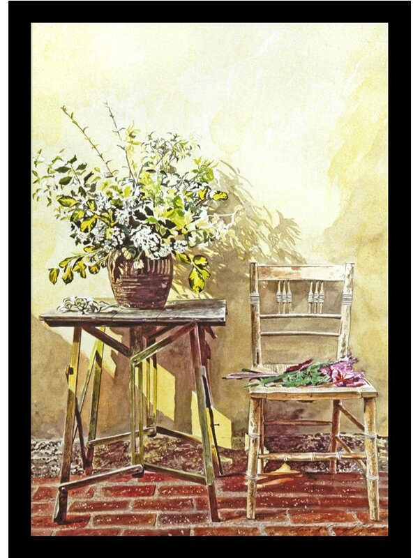 Buy Art For Less Flowers In A Vase And Chair Gardeners Corner
