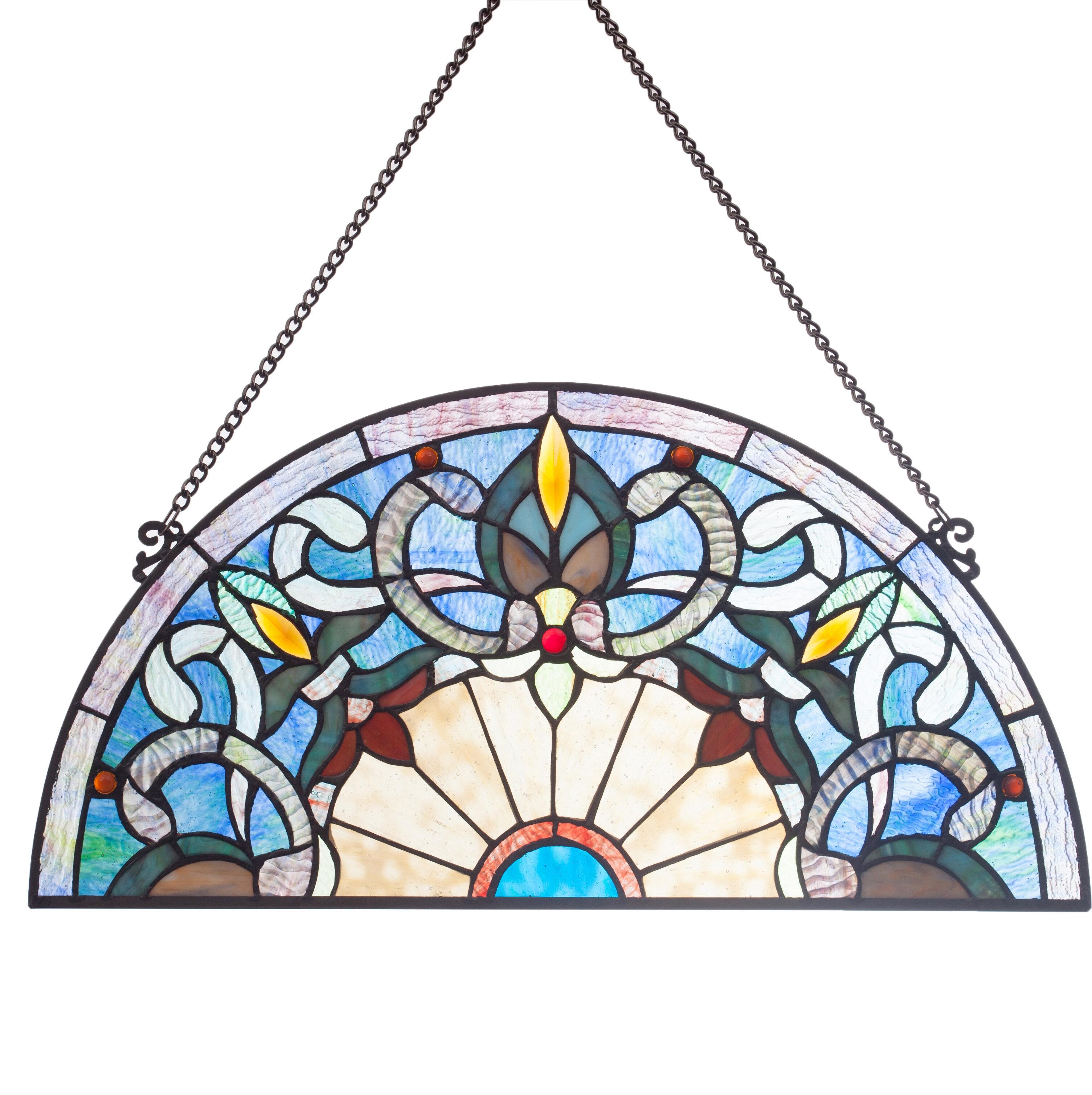 Astoria grand corista half moon stained glass window panel wayfair