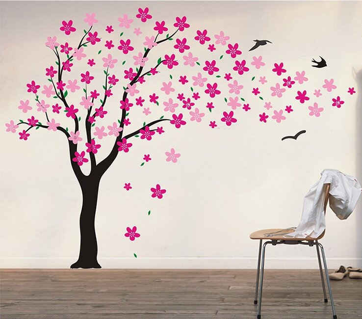 Pink Wall Decals pop decors drifting flowers and birds tree wall decal & reviews