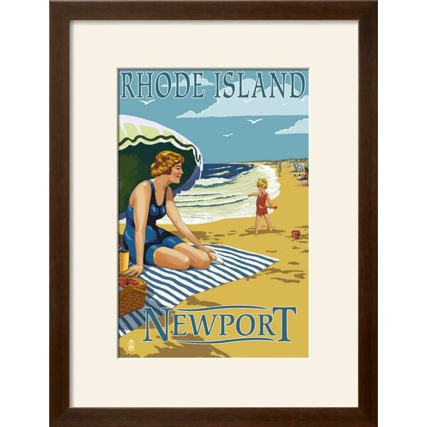 Highland Dunes \'Newport, Rhode Island - Beach Scene\' Framed Graphic ...