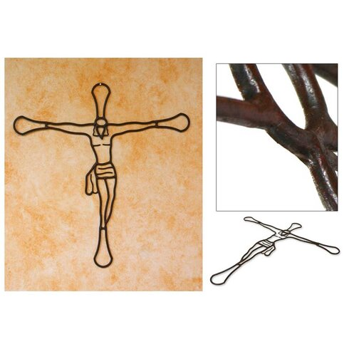 Novica Fair Trade Hand Crafted Guatemalan Wrought Iron Crucifix Wall ...