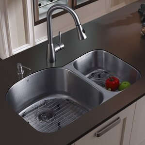 VIGO 31 inch Undermount 70/30 Double Bowl 18 Gauge Stainless Steel Kitchen Sink with Aylesbury Stainless Steel Faucet, Two...