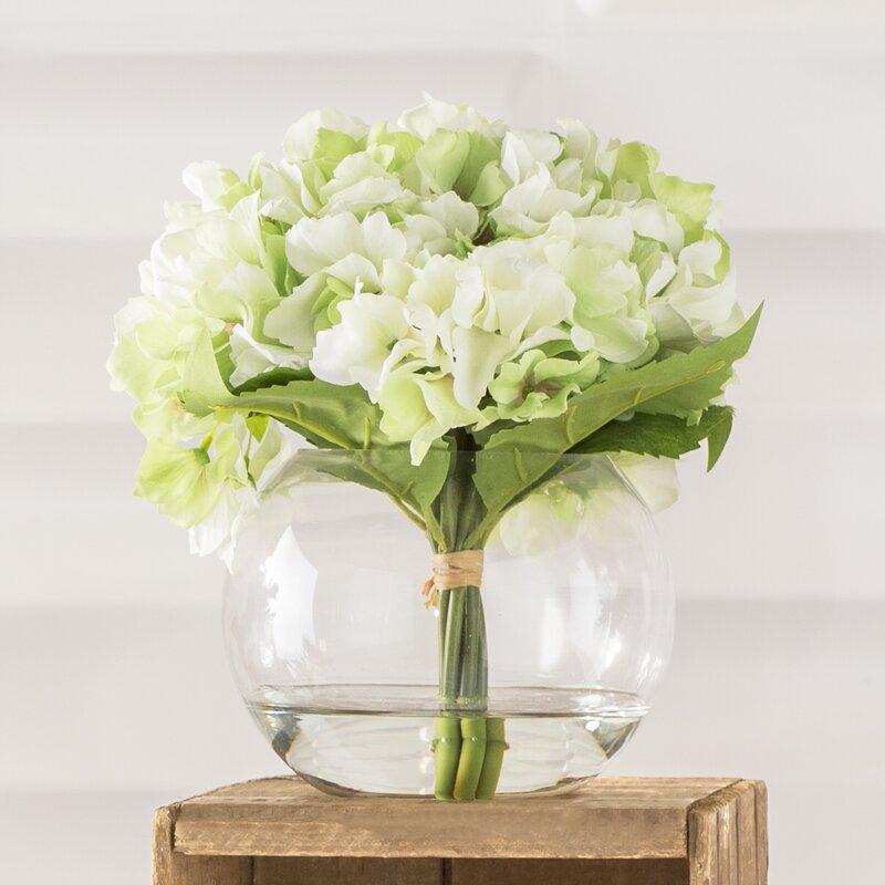 Pure Garden Hydrangea Arrangement In Glass Vase Reviews Wayfair