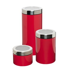Retro 3 Piece Kitchen Canister Set. Red