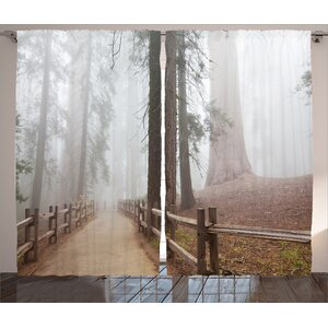 Colmar Evergreen Forest and Walkway in Sequoia Park Foggy Morning Nature Art Graphic Print & Text Semi-Sheer Rod Pocket Curtain Panels (Set of 2)
