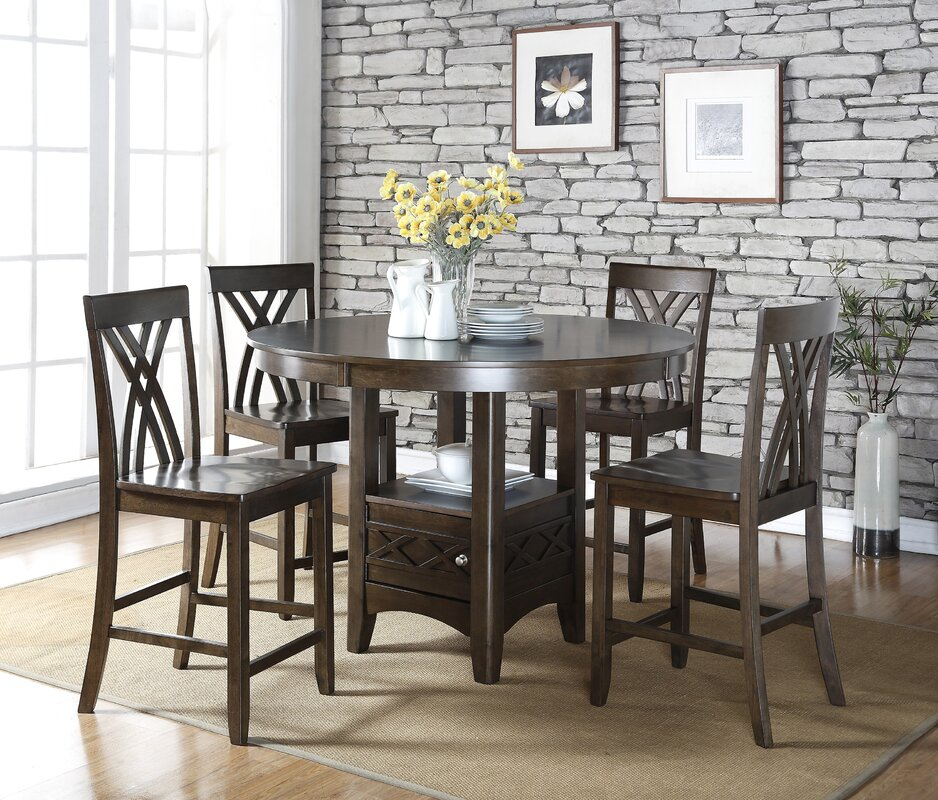 Heffington 5 Piece Counter Height Dining Table Set & Alcott Hill Heffington 5 Piece Counter Height Dining Table Set ...