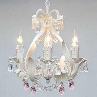Kids chandeliers youll love wayfair tobias 4 light crystal hearts chandelier aloadofball Choice Image