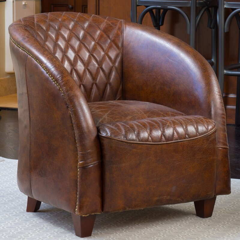 Nice Darby Home Co Wilmette Tufted Leather Barrel Chair U0026 Reviews