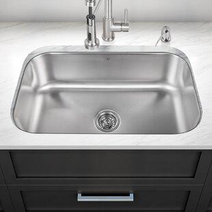 30 inch undermount 18 gauge stainless steel kitchen sink 14 gauge stainless steel sink   wayfair  rh   wayfair com
