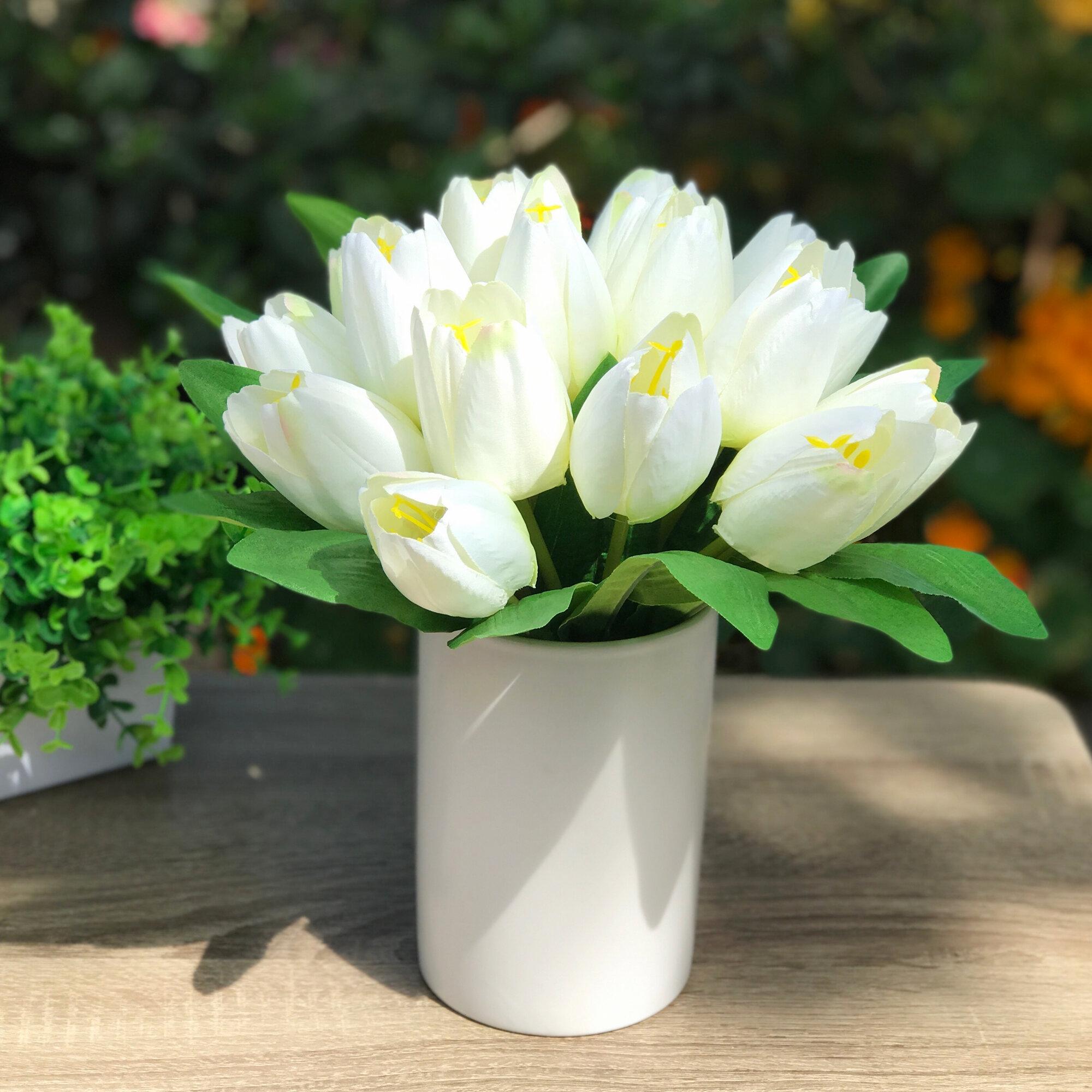 Canora Grey 18 Heads Silk Tulips Floral Arrangement And Centerpiece