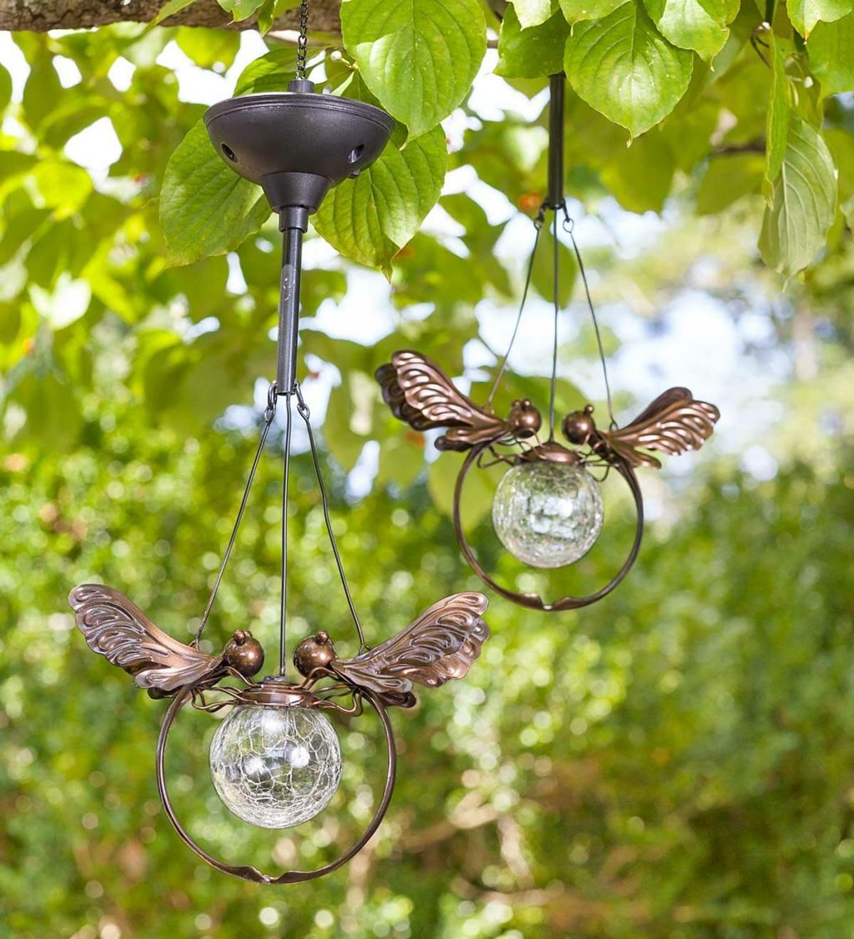 Wind Weather Solar Gl Le Ball Dragonfly Light 2 Piece Decorative Lantern Set Reviews Wayfair