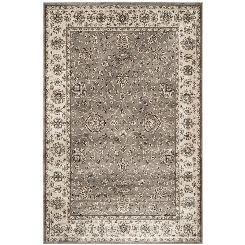 Alcott Hill Hewitt Grey/Ivory Area Rug, Size: Rectangle 67 x 96