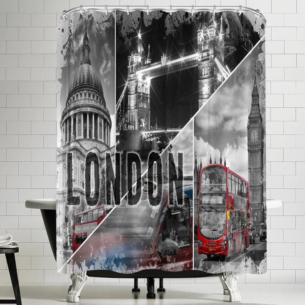 East Urban Home Melanie Viola London Collage Shower Curtain