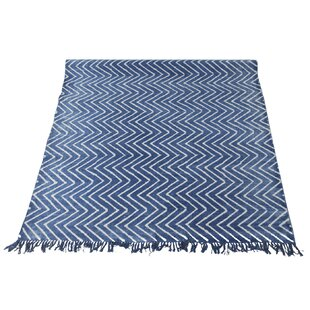 Wilkerson Hand Flatweave Cotton Blue Rug by World Menagerie