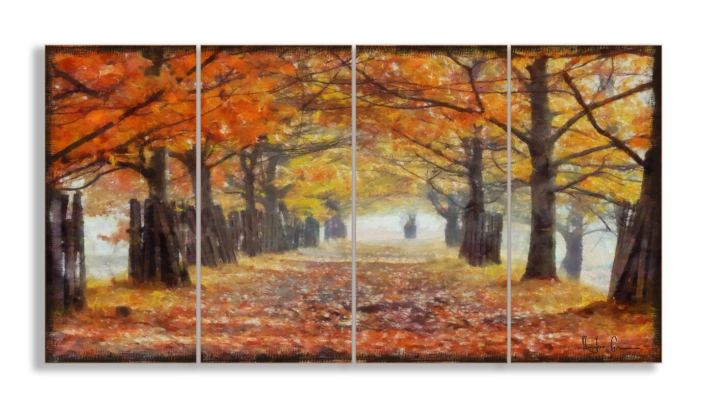 Stupell Industries A Walk Through The Autumn Trees 4 Piece