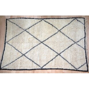 Inexpensive One-Of-A-Kind Moroccan Beni Ouarain Hand-Woven 6'3 x 9'6 Wool Off White Area Rug By Isabelline