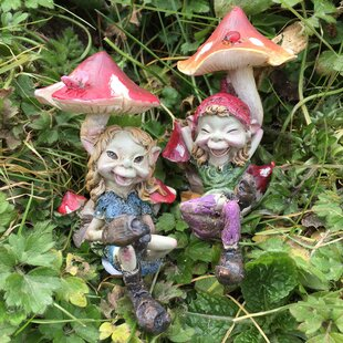 2 Piece Pixie Couple Under Mushrooms Outdoor Decorative Garden Statue Set