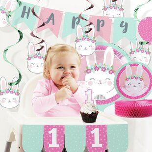 Mckee Bunny Party 1st Birthday Decorations Kit