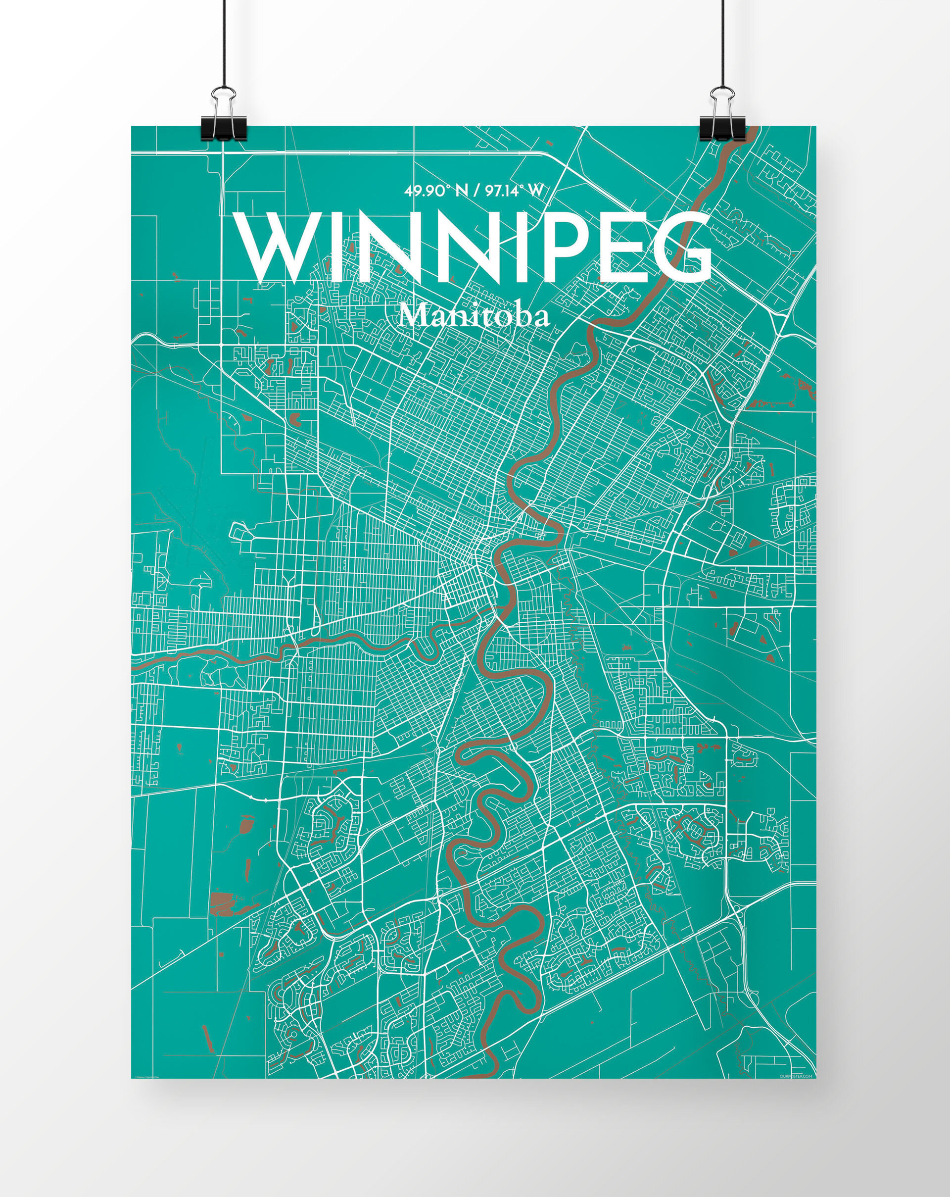 Ourposter Com Winnipeg City Map Graphic Art Print Poster