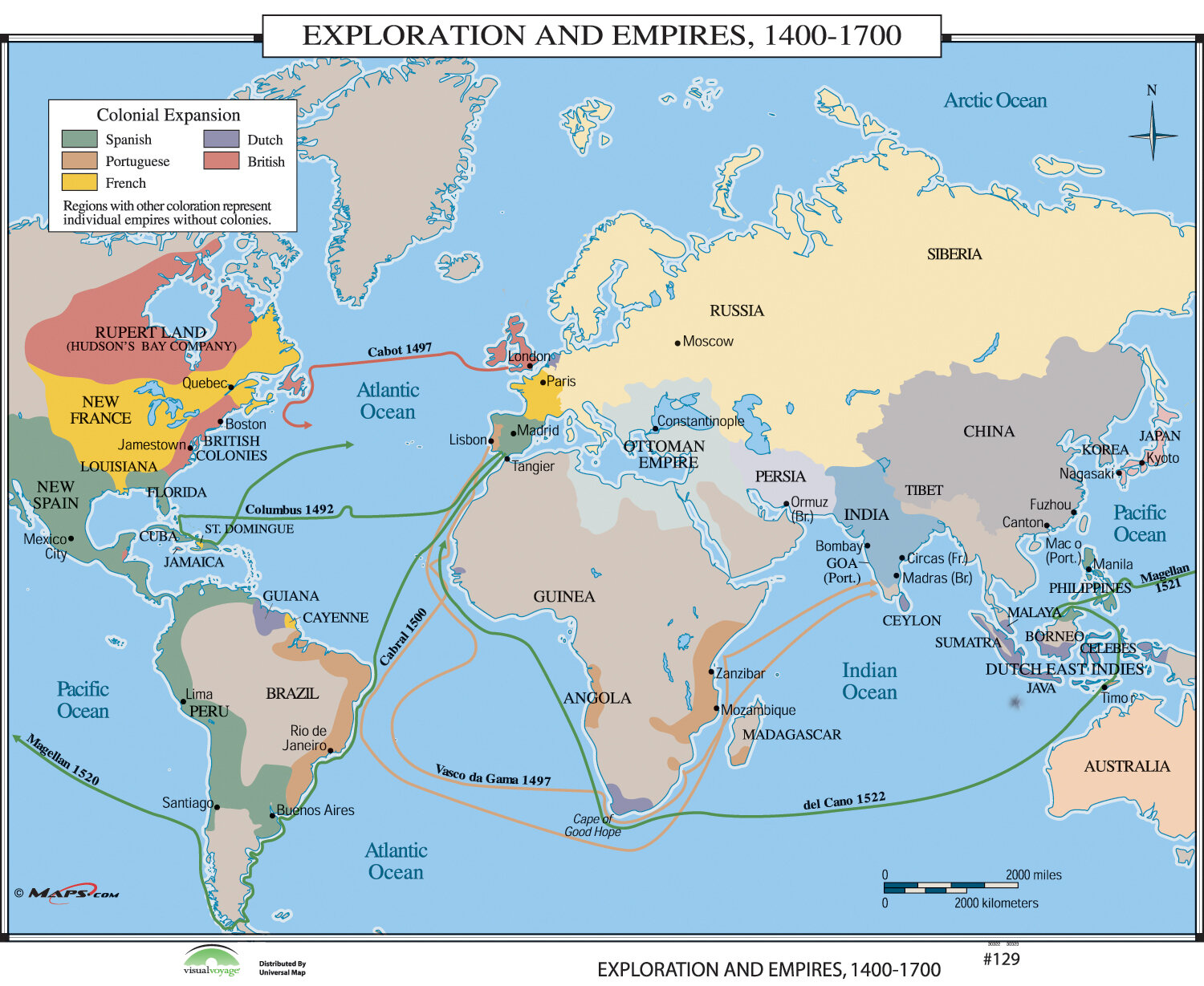 Universal Map World History Wall Maps - Exploration & Empires 1400 ...