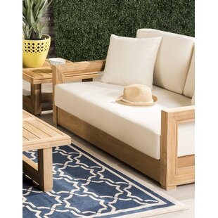 Brayden Studio Constance Teak Outdoor Patio Sofa with Cushions | Wayfair
