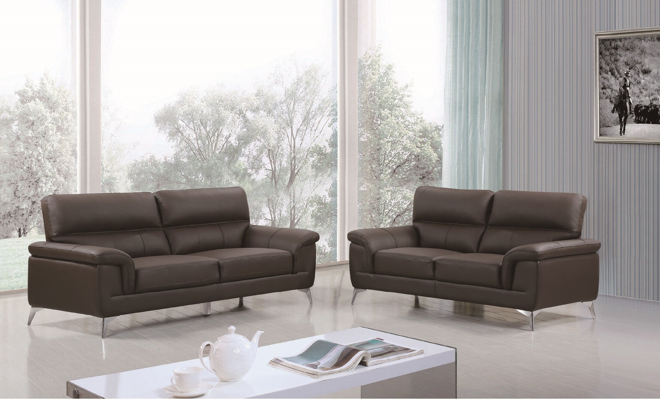 Wade Logan Eldred Leather 2 Piece Living Room Set   Wayfair
