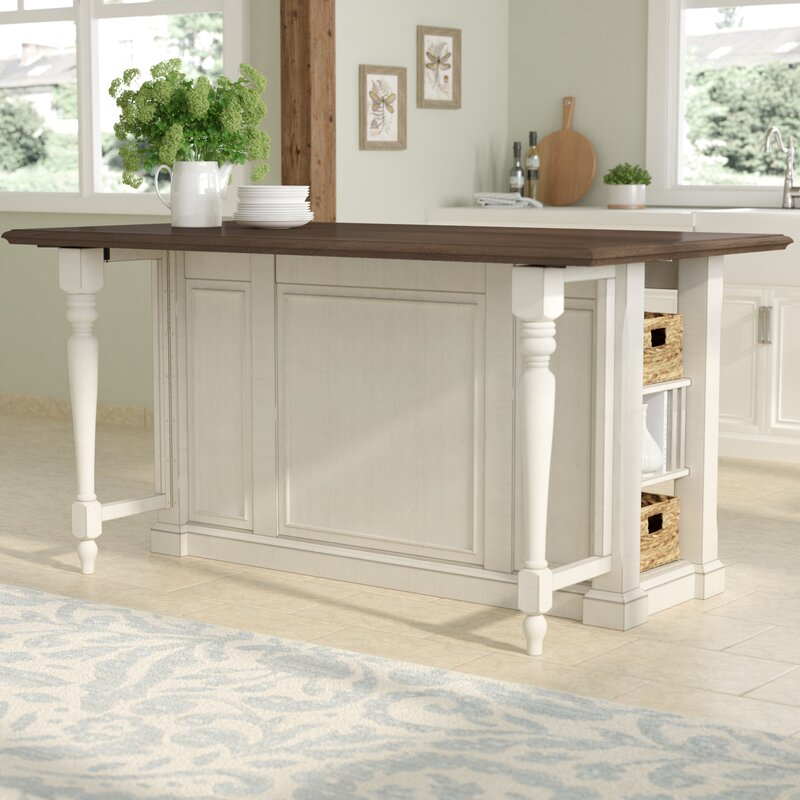 August Grove Almira Kitchen Island with Wood Top & Reviews | Wayfair