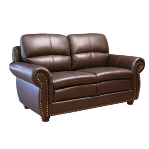 Barrows Leather Loveseat by Darby Home Co