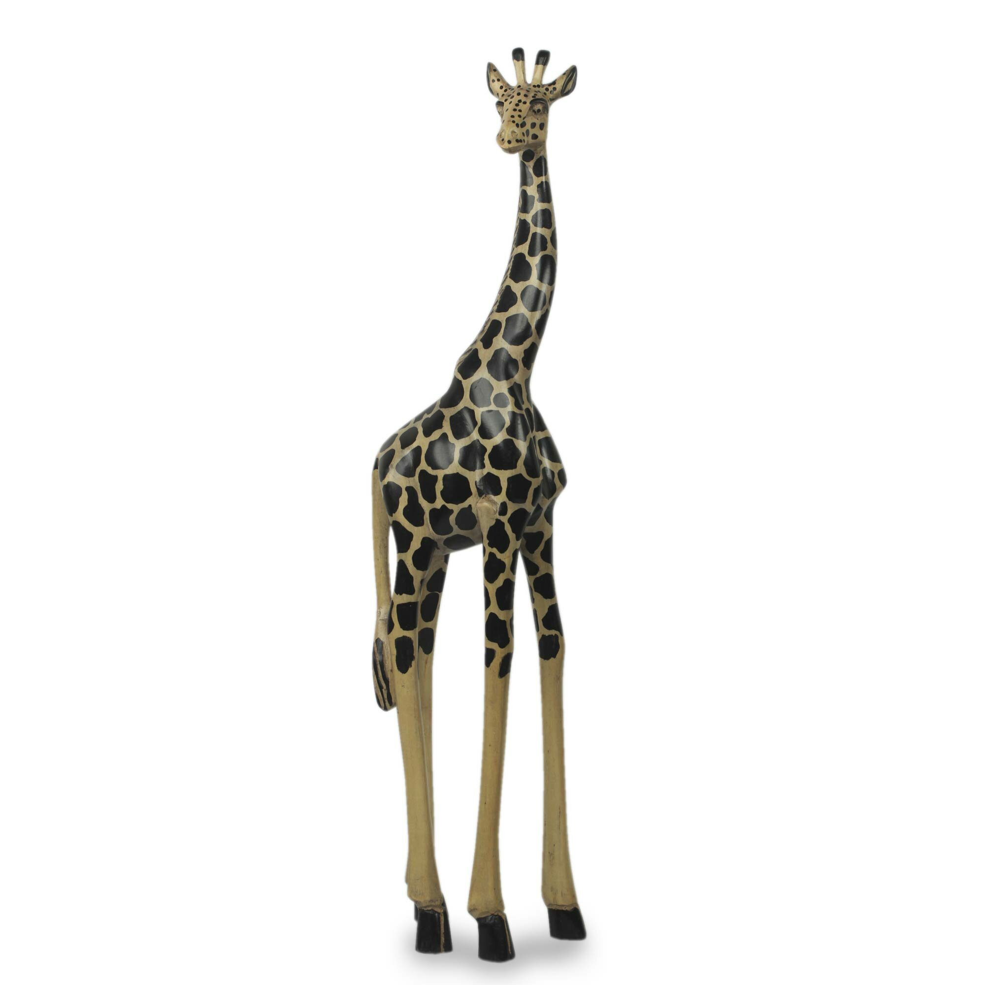 Bloomsbury Market Youngberg Hand Carved And Painted Wood Tall Giraffe Statue  | Wayfair