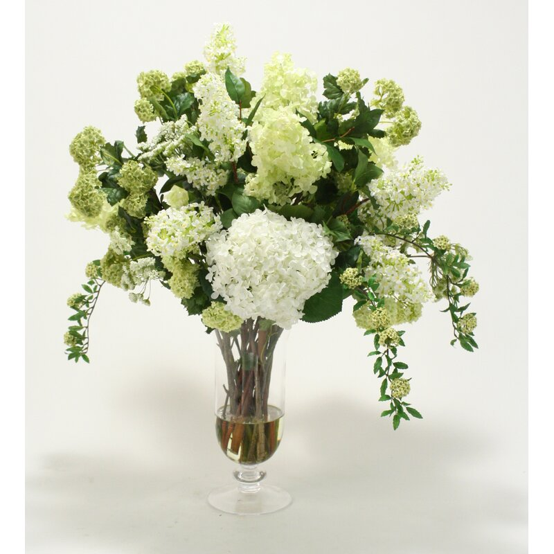 Distinctive designs waterlook silk floral arrangement mix with waterlook silk floral arrangement mix with greenery in footed clear glass urn mightylinksfo