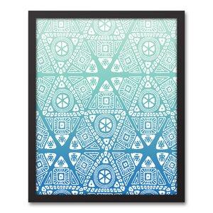 U0027Blue Tribal Patternu0027 Framed Graphic Art Print On Canvas