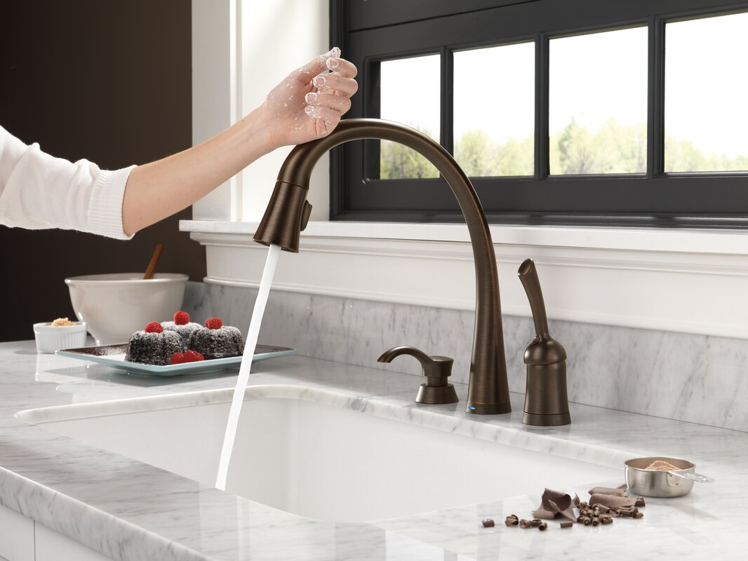 delta pilar single handle standard kitchen faucet with touch